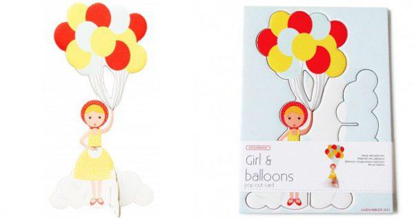 Aufstellkarte - Mädchen mit Ballone