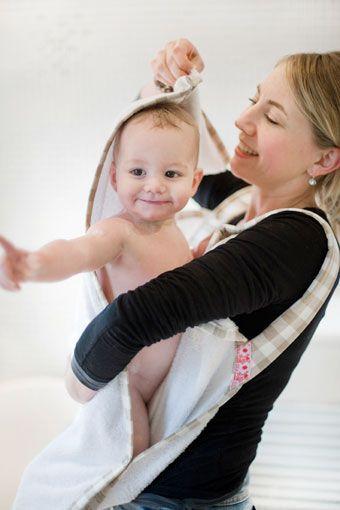 Baby Badetuch - Schürze : Blümen
